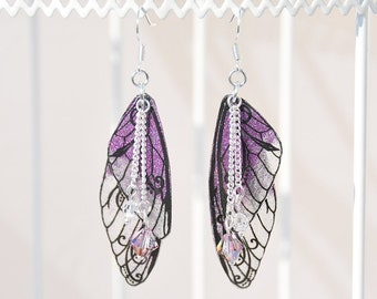 "Fairy wings - fairy wings earrings ""Fairy"" Violet - glitter - 925 sterling silver earwires"