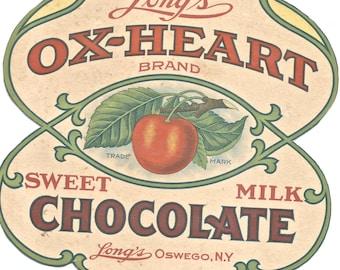 Vintage advertising Ox-Heart Chocolate Oswego NY box clip art 300 dpi download image art