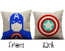 Captain America Pillow, cartoon pillow, red pillow, blue pillow, america, chris evans, Avengers, superhero pillow, capt america pillowcase