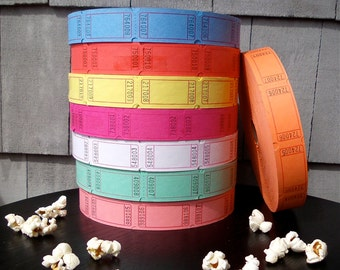 Raffle Tickets Blank Carnival - Choose your color - Perfect for door prizes, giveaways, weddings, mixed media, scrapbooking, stamping