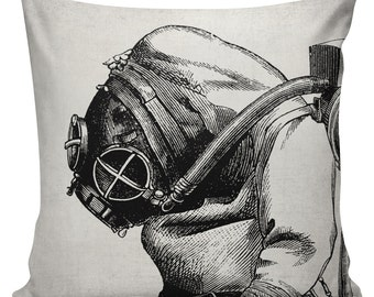 Steampunk Pillow Cover Cotton Canvas Throw Pillow 18 inch square  UE-45 Victorian Scuba Diver Urban Elliott
