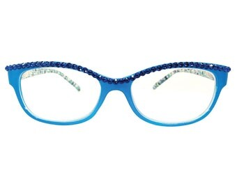 Check Mate - Capri Blue (Reading Glasses with Crystals)