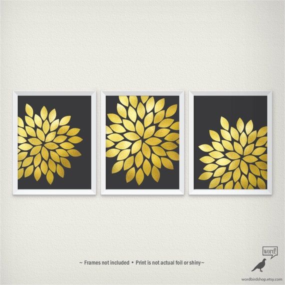 Etsy Gold Wall Decor : Items similar to black and gold wall art floral