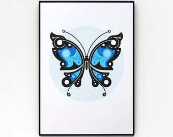 Butterfly #2 A2 limited edition screen print, hand-printed in 3 colours