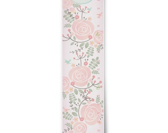 Pretty Floral Personalized Growth Chart in Soft Pinks