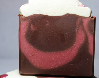 On Sale Now 50% off / Regularly 7.00 /Limited Edition Dark Chocolate Raspberry Soap / Cold process soap / Artisian Soap