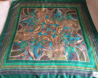 Vintage Torrente Paris  green brown blue silk scarf