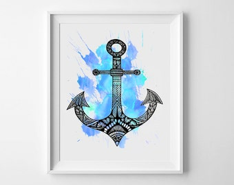 Nautical Anchor Print, Anchor Drawing, Nautical Art, Aztec design print, Marine Nautical art, Coastal Living, marine art, Ship Anchor Prints