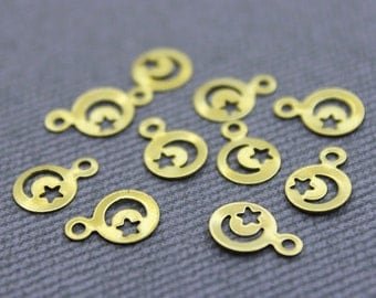 100 Raw Brass Moon and Star Charms 7 mm (GB-1010) Moon Star Pendant, Brass Star Charms, Brass Moon Charms, Gold Moon Star Charm, Gold Moon