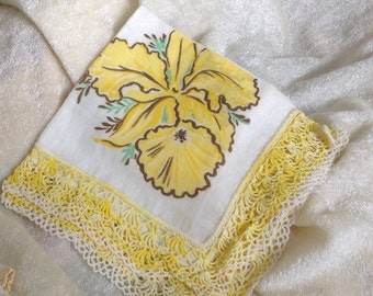 Yellow Crocheted Lace Hnadkerchief