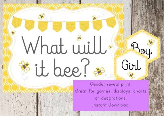 Bumble Bee Baby Shower Printable Sign Gender Reveal Print What Will It Game INSTANT DOWNLOAD Pdf