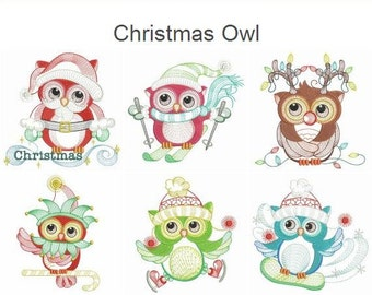Christmas Owl Machine Embroidery Designs Instant Download 4x4 5x5 6x6 hoop 11 designs APE2092