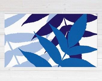 Botanical Area Rug - Fern Rug - Cobalt Navy Blue Area Rug - Modern Leaf Rug - Home Decor