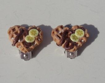 Heart Shaped Waffle Foodie CLIP ON Earrings