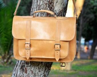 Leather Messenger Bag - 15 inch Laptop Bag - Natural Color Leather Breafcase - Leather Backpack - Laptop Bag - School Bag