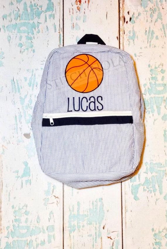 Seersucker Backpack with Basketball, Seersucker Diaper Bag, Seersucker School Bag, Seersucker Bag, Diaper Bag, School Bag, Book Bag, Backpac
