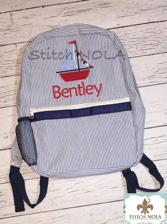 Seersucker Backpack with Sailboat, Seersucker Diaper Bag, Seersucker School Bag, Seersucker Bag, Diaper Bag, School Bag, Book Bag, Backpack