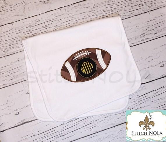 Bib OR burp cloth - Football Monogram Applique