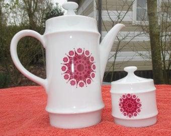 Bavaria Mitterteich vintage retro Teapot Coffeepot Sugar Bowl Purple Figure