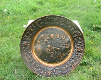 """Large Vintage Red Copper Wall Plate Decorative Rembrandt style Handmade 23.23"""""""