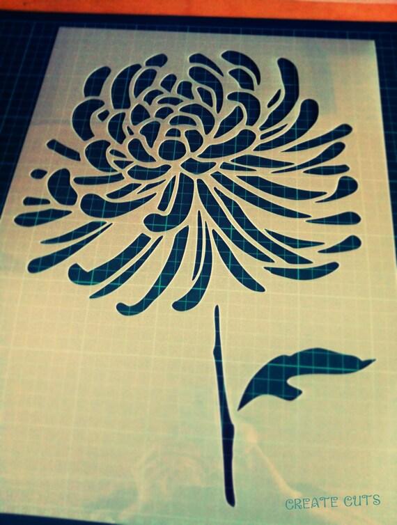 Crisantemo fiore STENCIL riutilizzabili per parete di CreateCuts