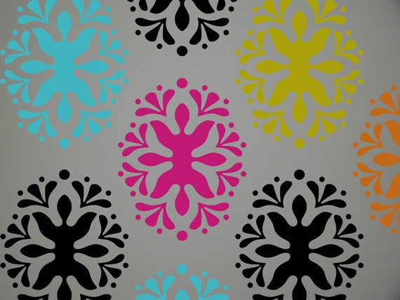 Items Similar To Damask 2 Pattern Stencil For Home Wall