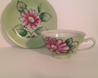 Vintage Stafford Japan Hand Painted Teacup and Saucer Set