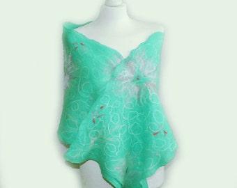 felted scarf, felted flower scarf, cobweb scarf, felt, mint scarf, merino, wool wrap OOAK