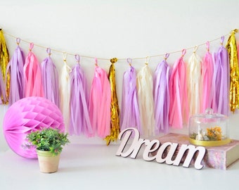 rapunzel party theme - Tissue Paper Tassel Garland - birthday party / shower decoration