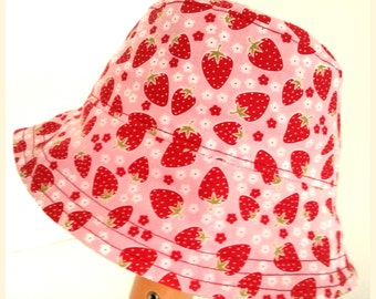 Girls  Baby Cotton Sun Summer Holiday Hat - Fisherman Style - Strawberries