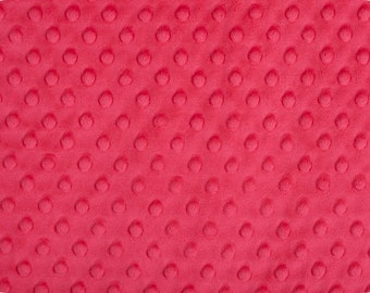 Watermelon Cuddle Minky Dot Fabric  (Shannon Fabrics) Melon Pink Red Raspberry