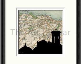 Calton Hill Edinburgh Old Map Print