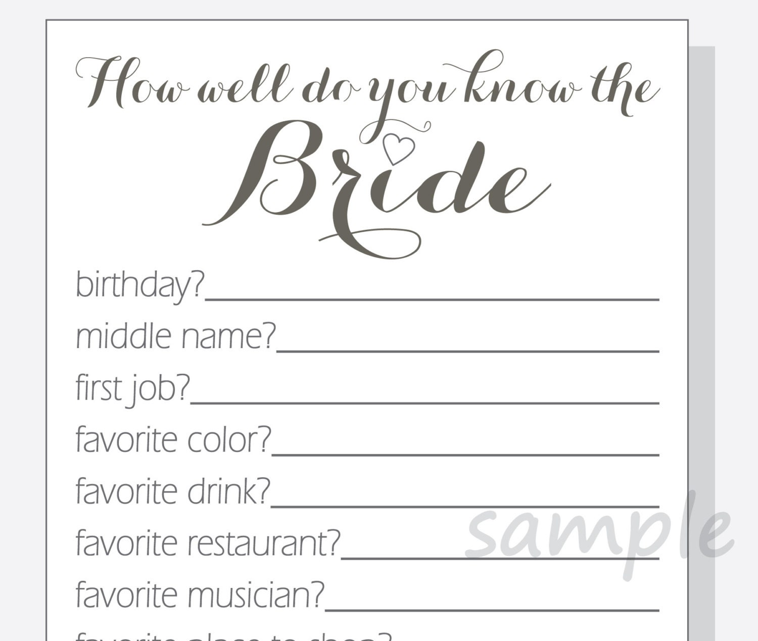 Diy how well do you know the bride printable by lilcubbyprintables