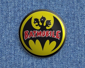 Batmobile logo Psychobilly button