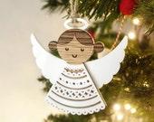Wood lasercut angel / fairy : Christmas tree decoration