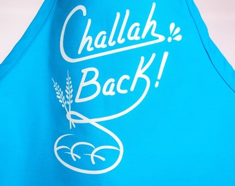 Challah Back Apron- Turquoise (Bright Blue) and White