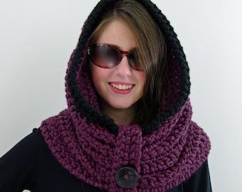 Crochet Chunky Infinity Hooded Cowl, Hoodie in Fig Purple