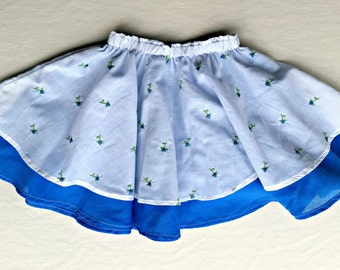 Blue and White Layered Skirt with Roses, 2-3T