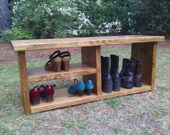 Rustic Decor Bench With Shoe Rack Shelf - Boot Bench - Shoe Bench