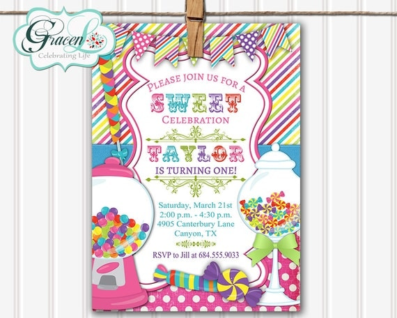 Candyland Invitation Template For Kids