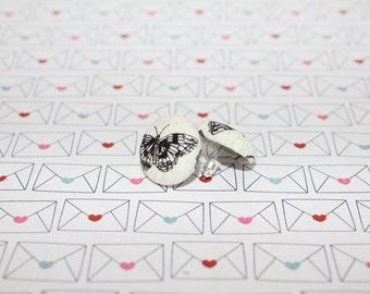 Fabric button earrings- butterfly pattern