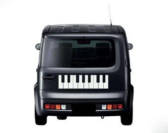 "Piano Keyboard Keys Musical Instrument Vinyl Wall Sticker Decal 9.75""h x 22""w"