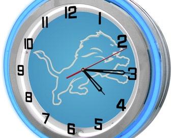 Detroit Lions Blue Double Neon Clock