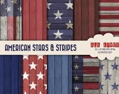 USA Digital Paper set,  stars and stripes red white and blue American paper pack, wood texture commercial use