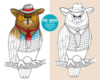 Owl digital stamp with hat and tie, digistamp wise owl coloring page, instant download