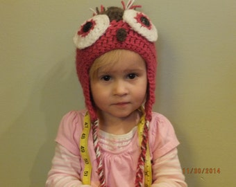 Infant/Toddler Size Crocheted Owl Hat