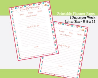 Printable Planner Pages -- Letter Size 8 1/2  x 11 -- 2 Pages per Week -- Zesty Floral Series -- PDF Planner Inserts
