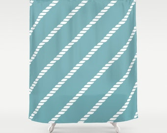 45 colors Nautical Rope Shower Curtain, nautical rope decor, blue shower curtain, nautical shower curtain, nautical bathroom decor
