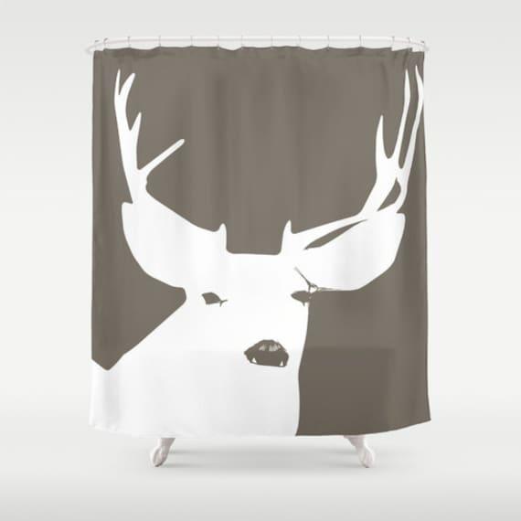 deer bathroom deer shower curtain antlers shower by riveroakstudio. Black Bedroom Furniture Sets. Home Design Ideas