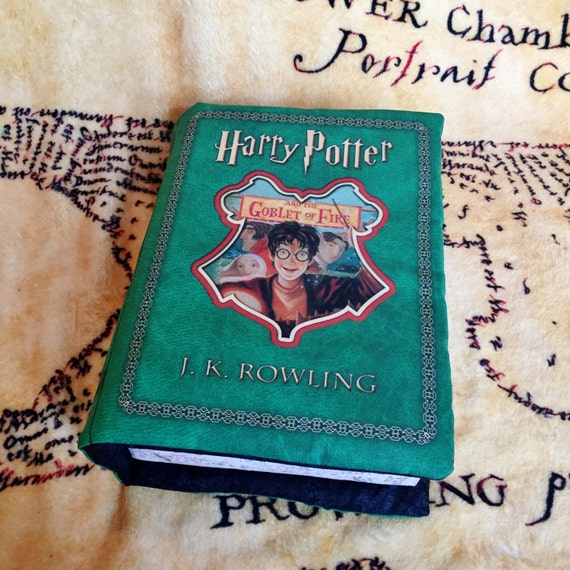 Harry Potter Book Cover Fabric : Harry potter book pillow goblet of fire
